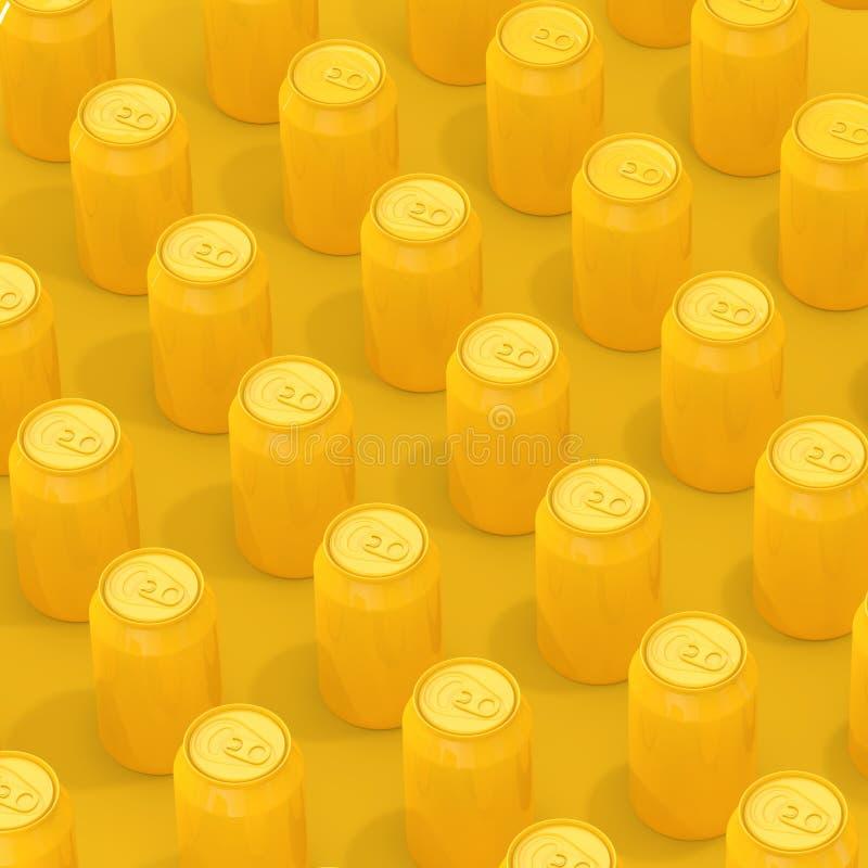 Fileiras de latas de alumínio vazias isométricas amarelas da bebida rendição 3d ilustração royalty free