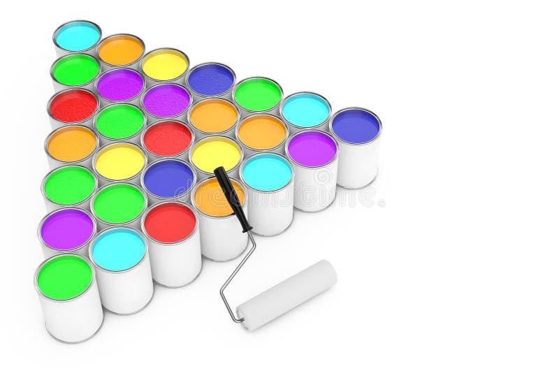 Fileiras de latas da pintura com escova do rolo rendição 3d ilustração royalty free