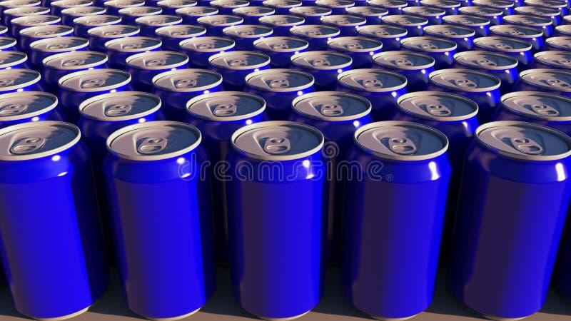 Fileiras de latas de alumínio azuis na fábrica Refrescos ou produção da cerveja Empacotamento de reciclagem moderno rendição 3d ilustração do vetor
