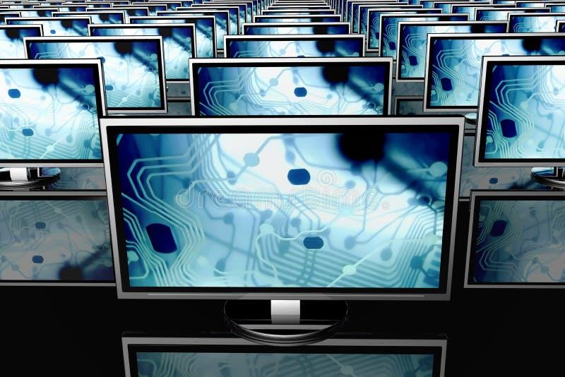 Fileiras de monitores da tela lisa ilustração stock
