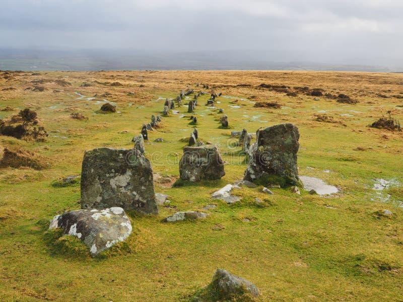 Fileiras de pedra múltiplas do monte de Cosdon conhecidas como o cemitério, parque nacional de Dartmoor, Devon, Reino Unido fotografia de stock