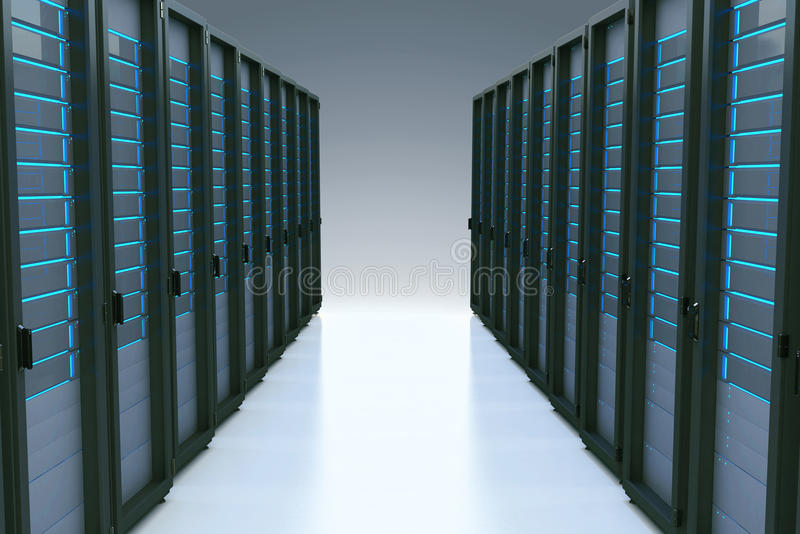 Fileiras de servidores de rede no centro de dados com efeito da reflexão 3d ilustração do vetor