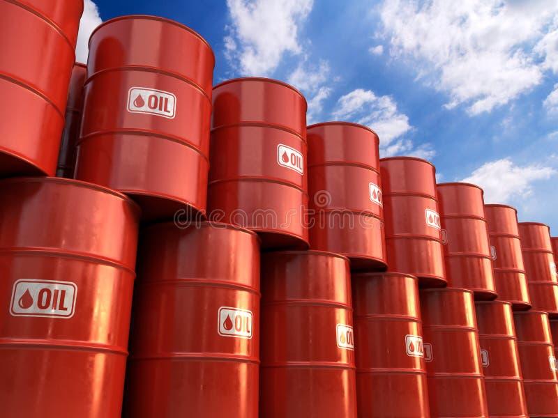 Fileiras do cilindro clássico dos tambores de óleo do metal ilustração stock