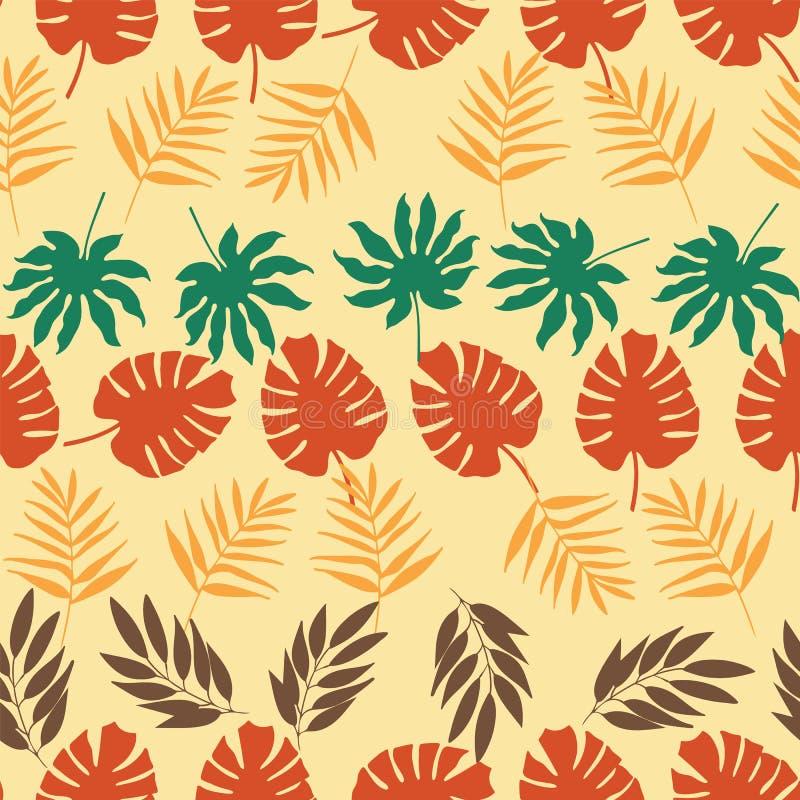 Fileiras horizontais do vetor do teste padrão sem emenda das folhas tropicais ilustração royalty free