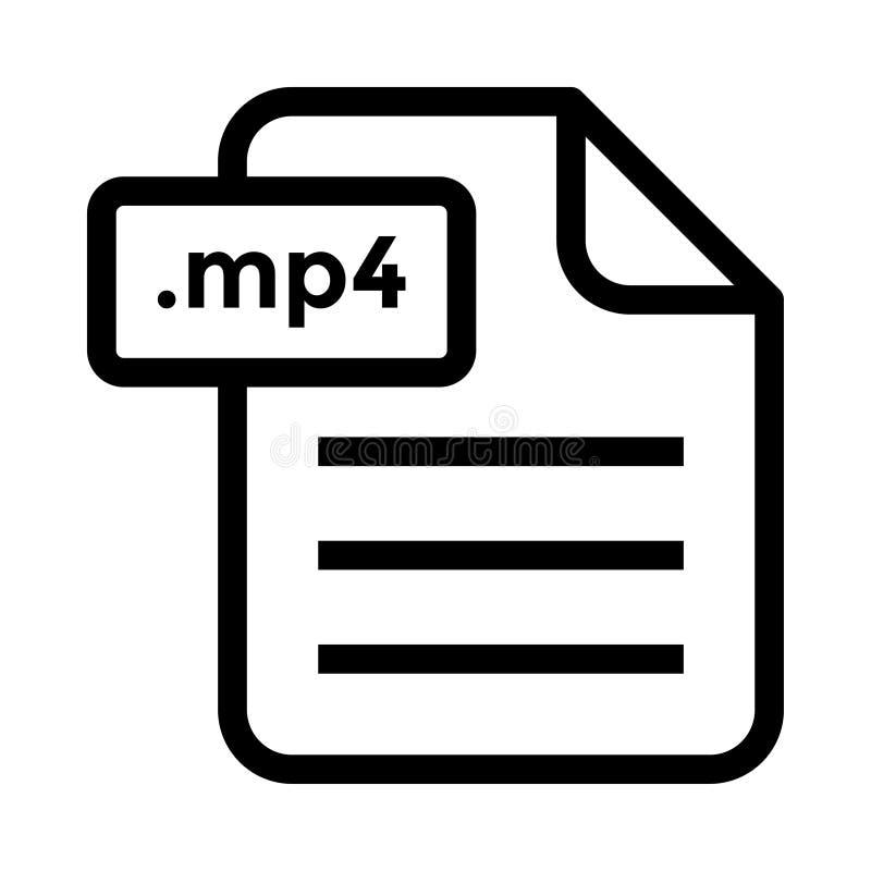 filename mp4 linii wektoru ikona ilustracja wektor