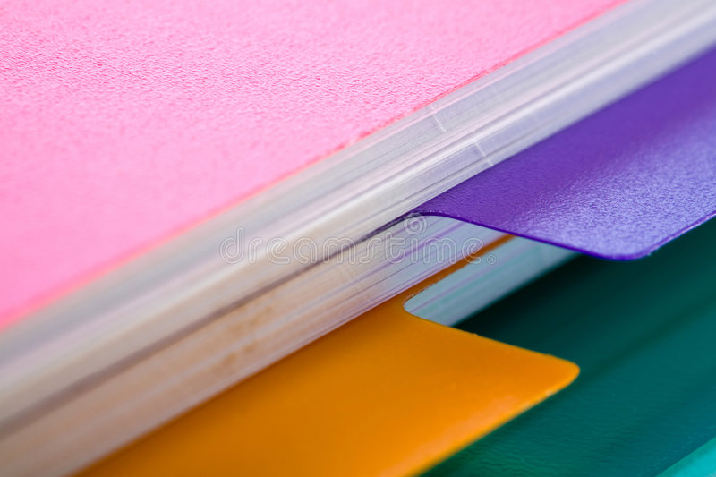 Files. Stock photo: office theme: an image of part of a pink notebook royalty free stock photo