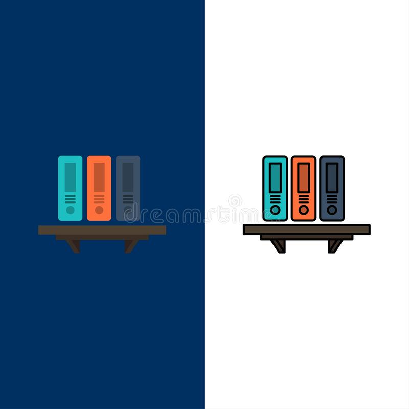 Files, Archive, Data, Database, Documents, Folders, Storage  Icons. Flat and Line Filled Icon Set Vector Blue Background royalty free illustration