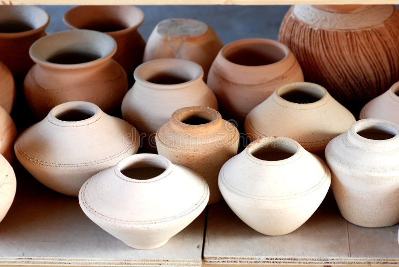 Files of clay pots ,crocks stock image
