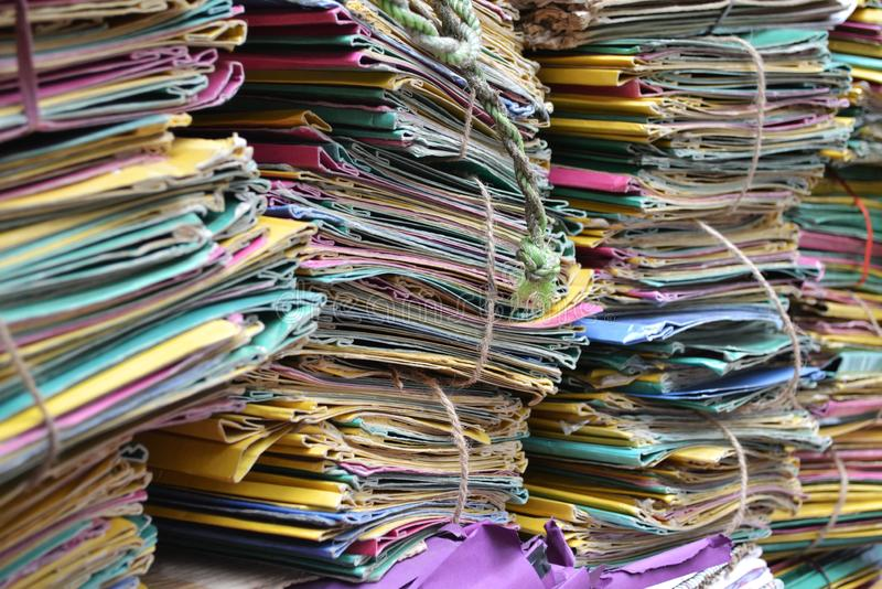Files in different colors stacked up in office royalty free stock photo