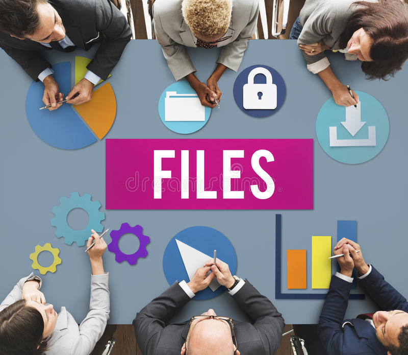 Files Document Technology System Storage Concept stock image