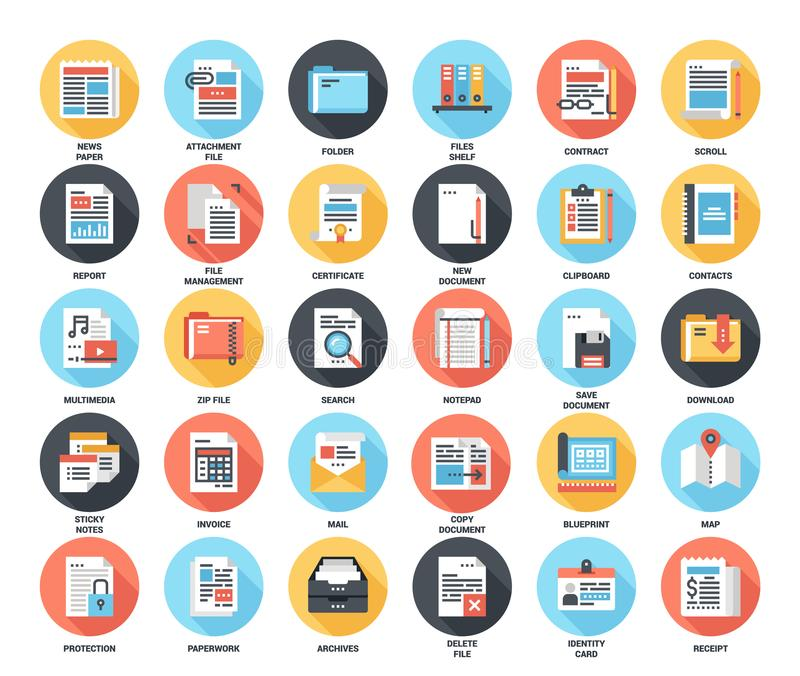Files and documents flat icons stock illustration