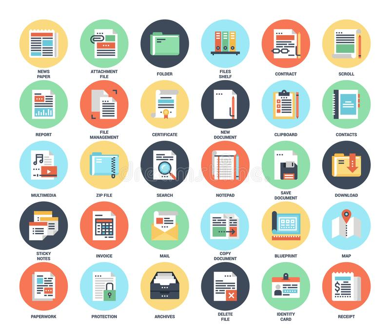 Files and documents flat icons vector illustration