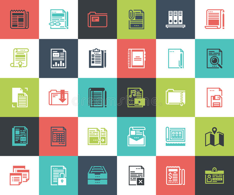 Files and documents flat line icons vector illustration