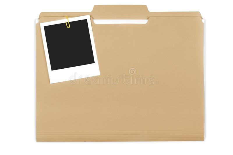 File Folder with Documents and Blank Polaroid stock photography