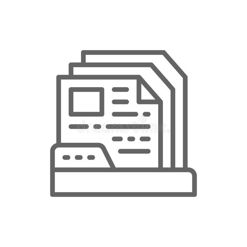 Files in folder line icon. stock illustration