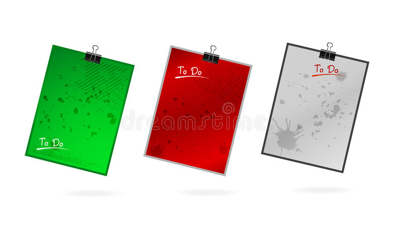 Files and folder set in the grunge style royalty free illustration