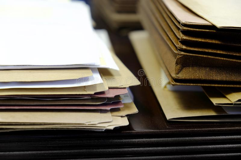 Files and Folders on Desk Work Busy Information stock image