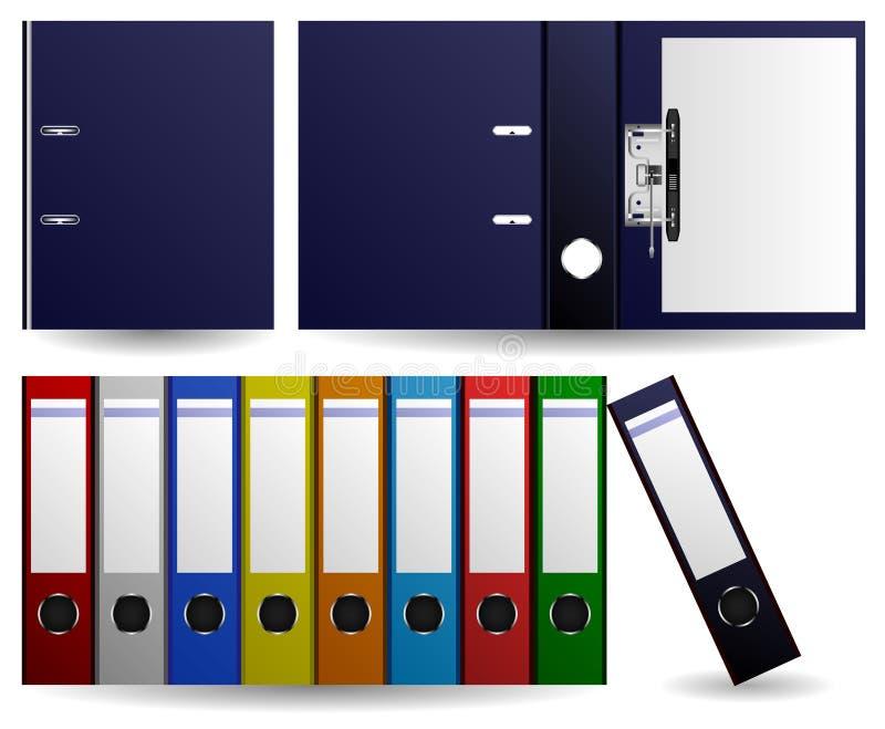 Files and Folders Ring Binder. Set of multiple color of files and folders. Opened and closed folder royalty free illustration