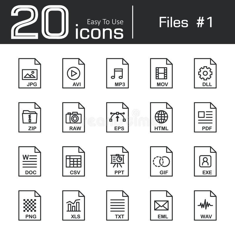Files icon set 1. Jpg avi mp3 mov dll zip raw eps html pdf doc csv ppt gif exe png xls txt eml wav stock illustration