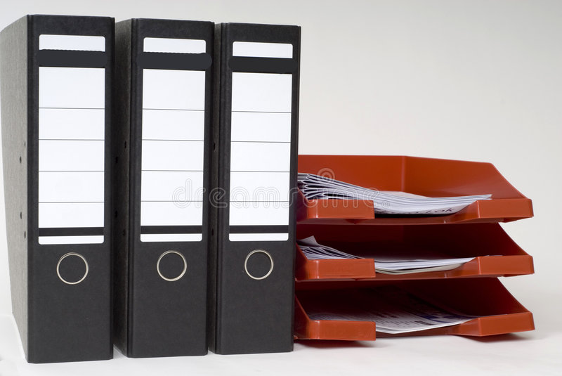 Files and a letter-box. Files and a letterbox in the office stock image