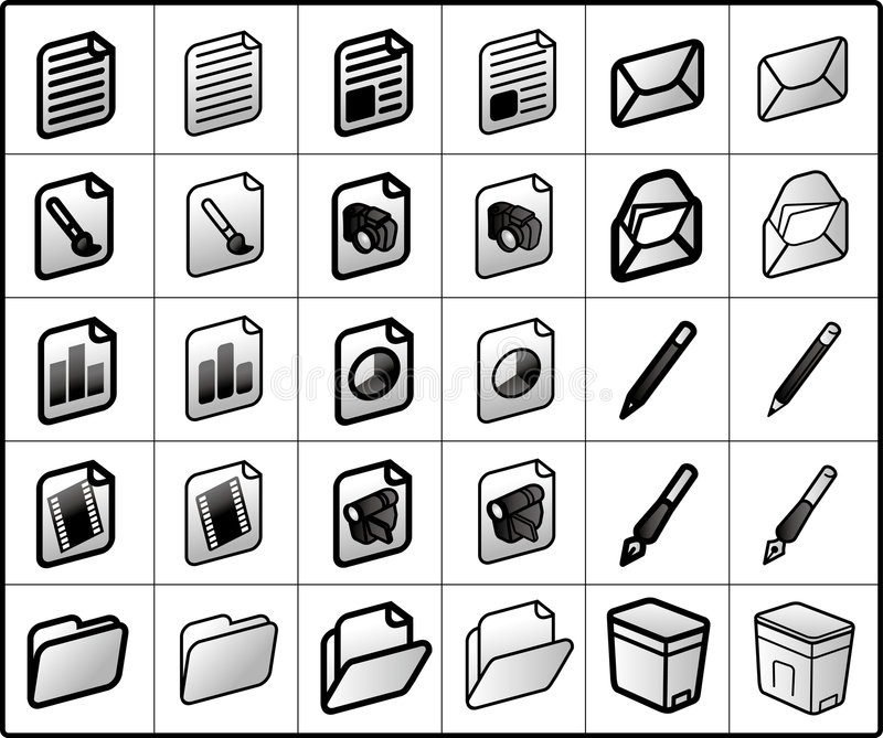 files and mail Icons royalty free illustration