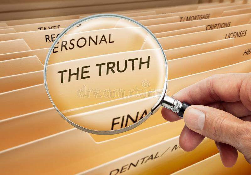 Truth Honesty Conspiracy Ethics Files Magnifying royalty free stock photo