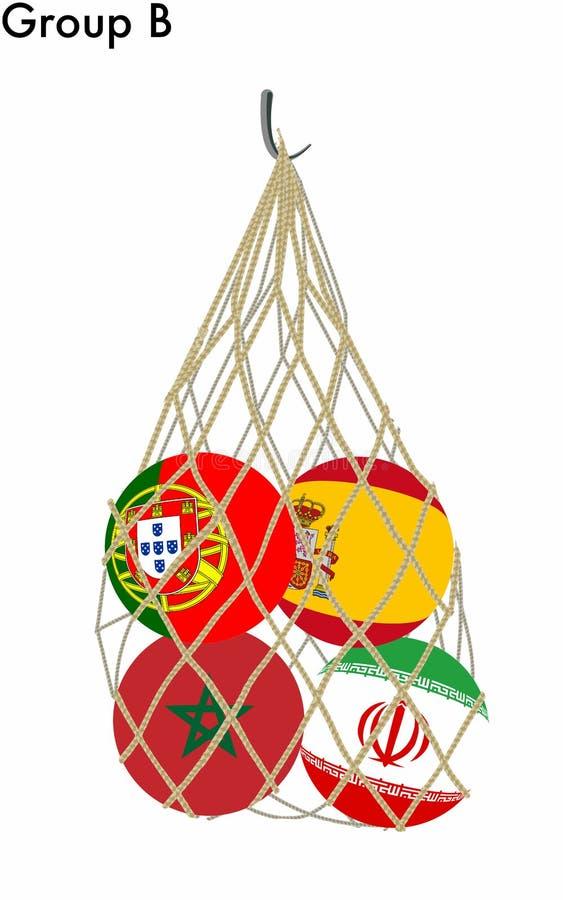 Filet avec des boules/drapeaux du groupe B de la coupe du monde du football illustration de vecteur