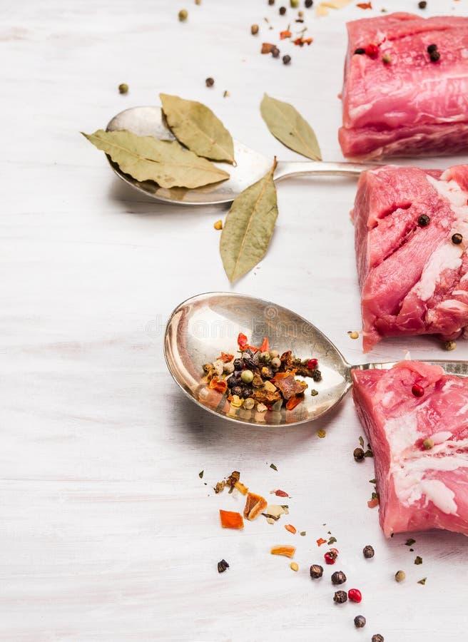 Filet cru de porc avec des herbes et des épices dans la cuillère de vintage image libre de droits