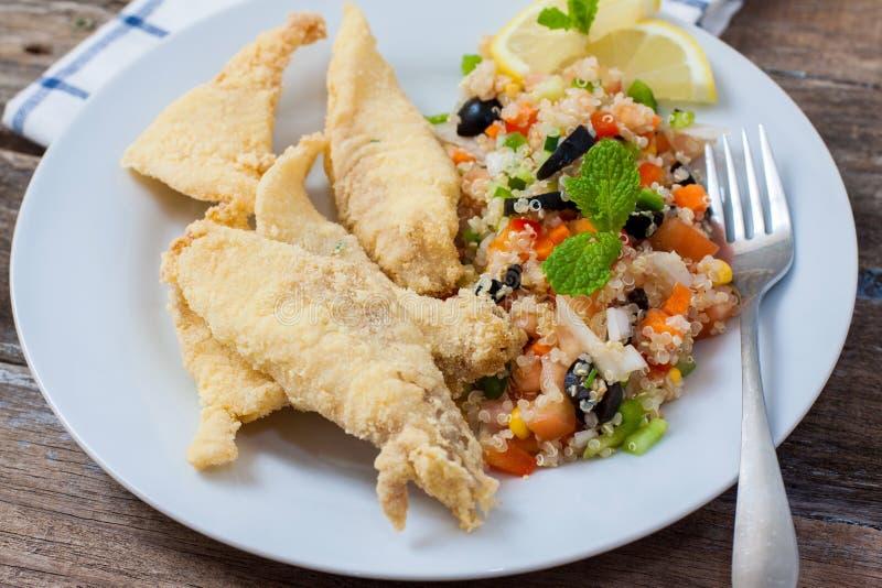 Filet cuit à la friteuse avec de la salade photographie stock libre de droits