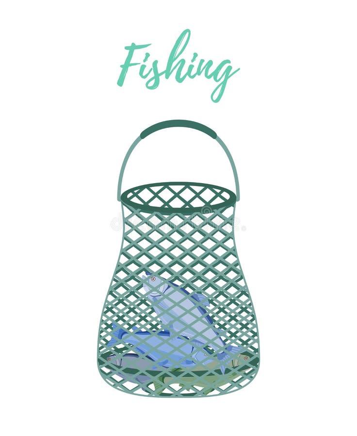 Filet de bande dessinée de vecteur, scoop-filet pour la pêche illustration libre de droits