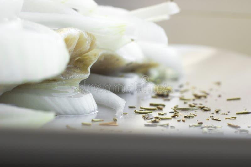 Filet de hareng sur l'assiette avec anneaux d'oignon photo libre de droits