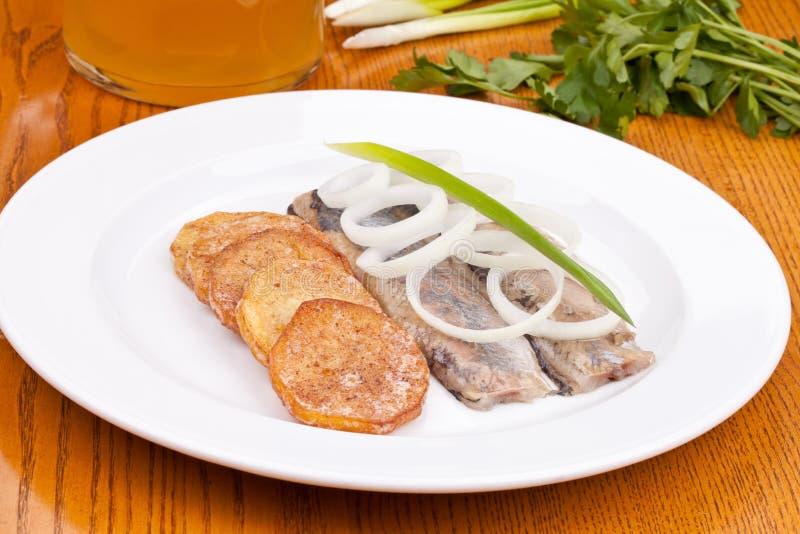 Filet de harengs salé avec la pomme de terre cuite au four du plat blanc photos stock
