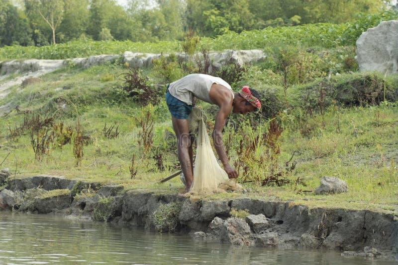 Filet de pêche au Bangladesh photographie stock libre de droits