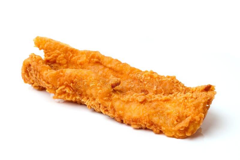 Filet de poissons frit sur le blanc photos stock