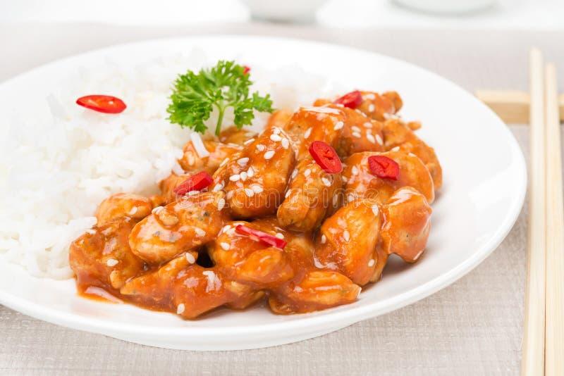 Filet de poulet en sauce tomate avec les graines de sésame et le riz image libre de droits