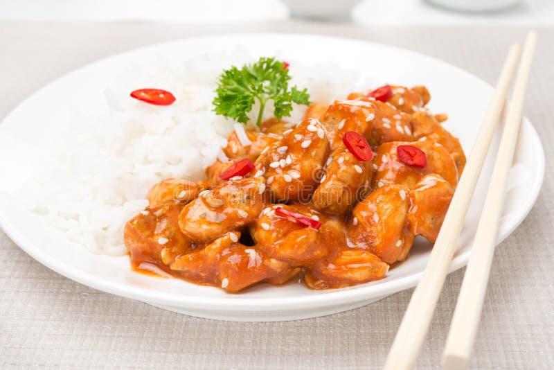 Filet de poulet en sauce tomate avec les graines de sésame, le piment et le riz image stock