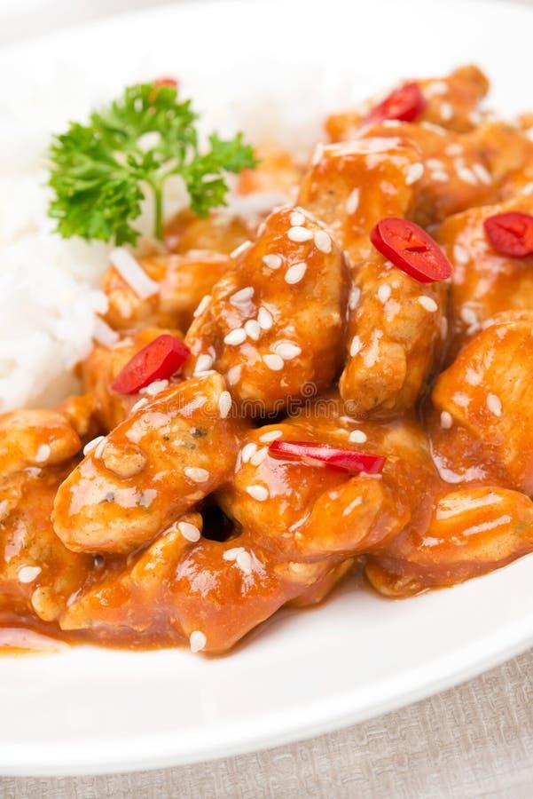 Filet de poulet en sauce tomate avec les graines de sésame, piment photos libres de droits