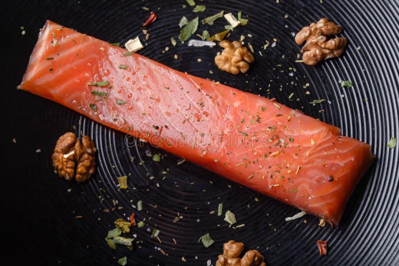 Filet de truite aux noix et épices image libre de droits