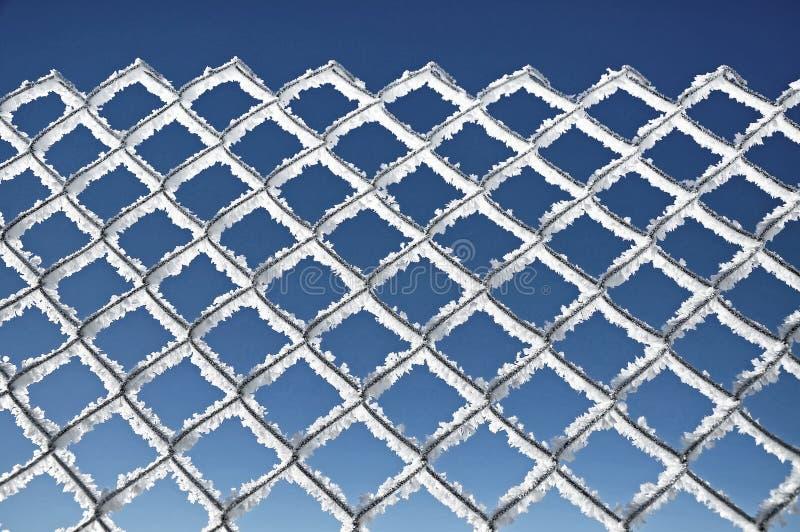 Filet métallique couvert de concep extrême de temps froid de gelée image stock
