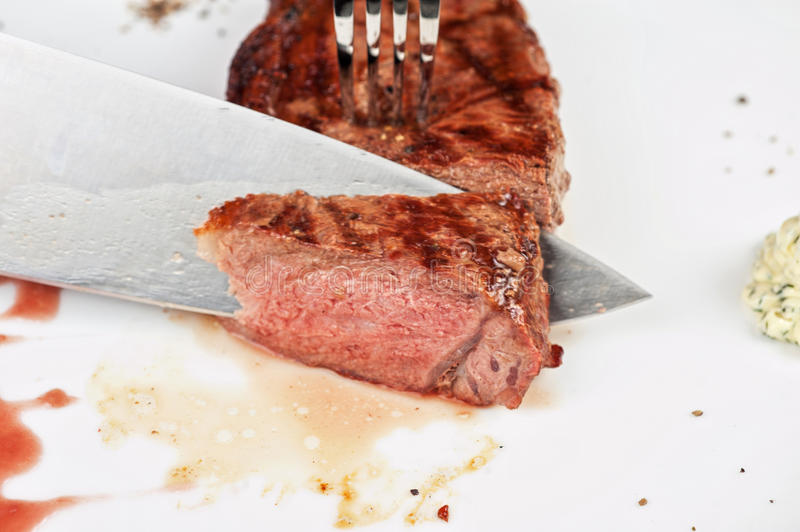 Filet mignon. Char-grilled to medium rare stock image