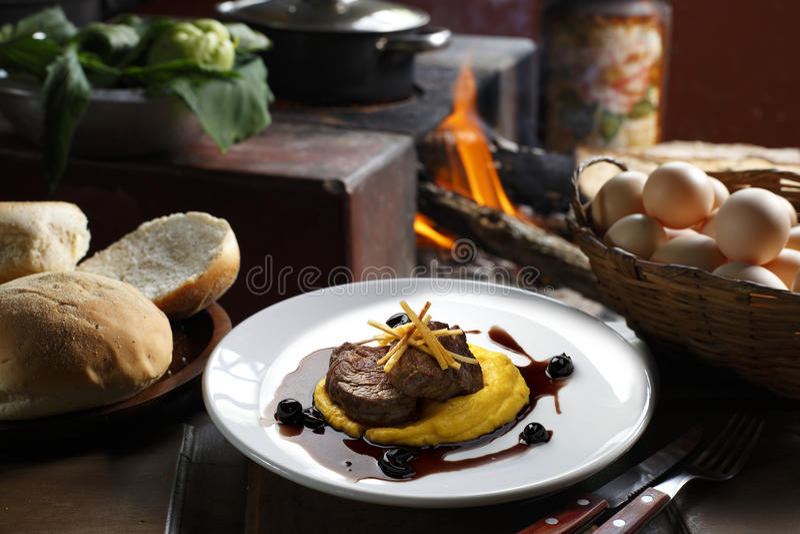 Filet. Mignon with mashed fresh royalty free stock photos
