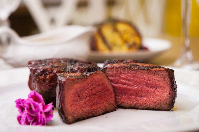 Filet mignon meal. Filet mignon served on a plate in restaurant stock image