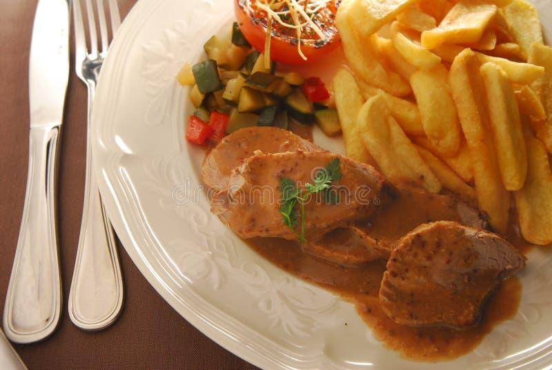 Filet Mignon pork. French cuisine Fliet Mignon pork royalty free stock photography