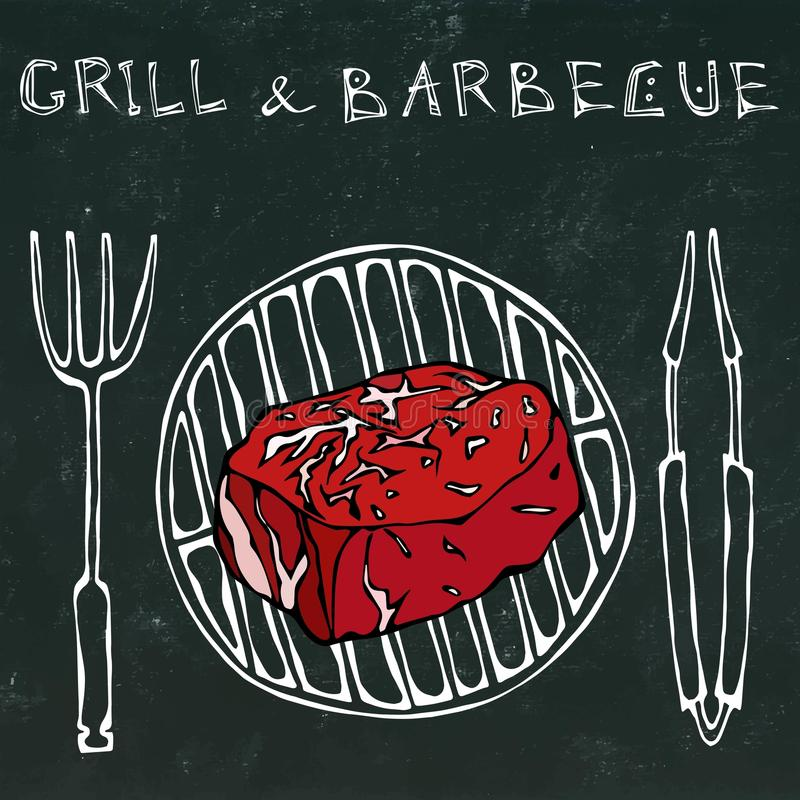 Filet Mignon Steak on the Grill for BBQ, Tongs and Fork. Lettering Grill and Barbecue. Realistic Doodle Cartoon Style. Filet Mignon Steak on the Grill for BBQ royalty free illustration