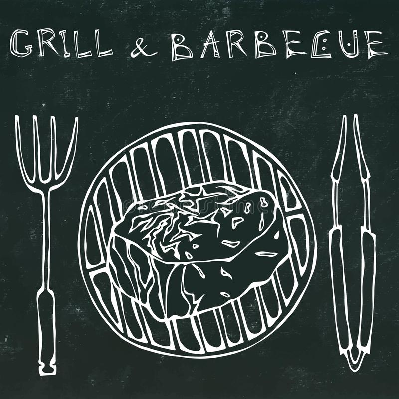 Filet Mignon Steak on the Grill for BBQ, Tongs and Fork. Lettering Grill and Barbecue. Realistic Doodle Cartoon Style. Filet Mignon Steak on the Grill for BBQ stock illustration