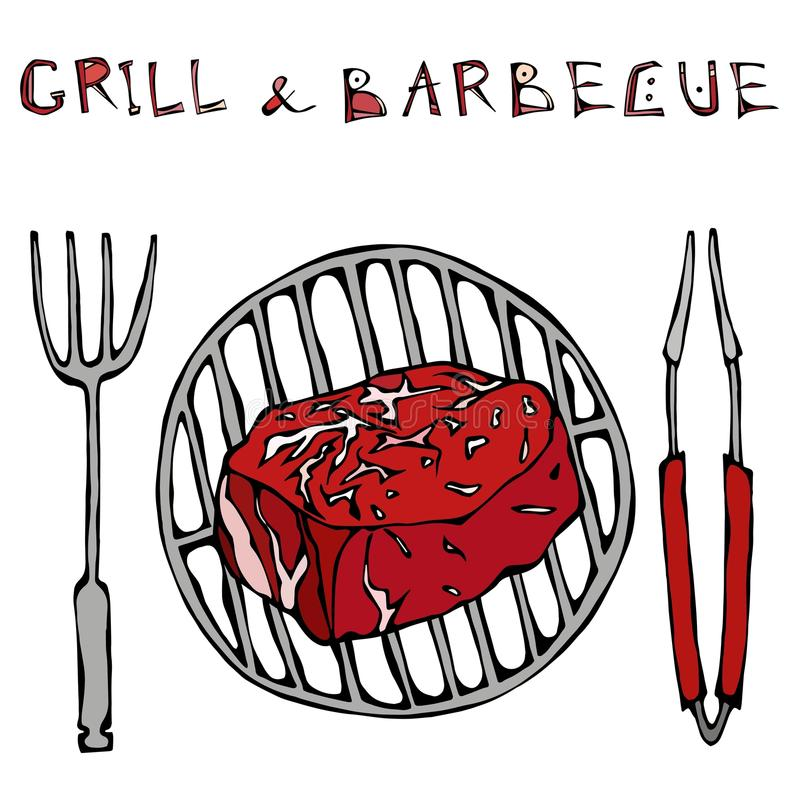 Filet Mignon Steak on the Grill for BBQ, Tongs and Fork. Lettering Grill and Barbecue. Realistic Doodle Cartoon Style Hand Drawn S. Filet Mignon Steak on the stock illustration