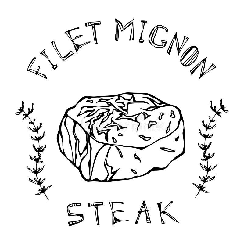Filet-Mignonen biffnötkött klippte med bokstäver i s-timjan Herb Frame Kötthandbok för slaktaren Shop eller logo för stekhusresta stock illustrationer