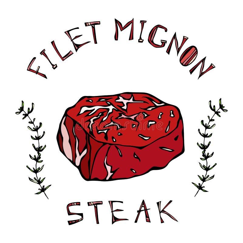 Filet-Mignonen biffnötkött klippte med bokstäver i s-timjan Herb Frame Kötthandbok för slaktaren Shop eller logo för stekhusresta vektor illustrationer