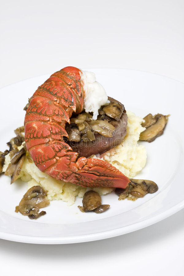 Filet steak and lobster royalty free stock photos