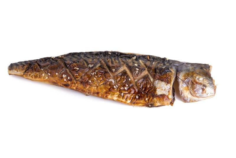 filete asado a la parrilla de la caballa (Saba) con la salsa del teriyaki en blanco fotos de archivo libres de regalías